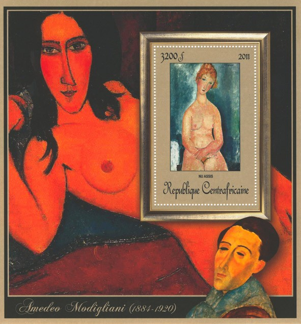 Special Block of Paintings of Amadeo Modigliani,  (Nu assis). - Issue of Central African republic postage stamps