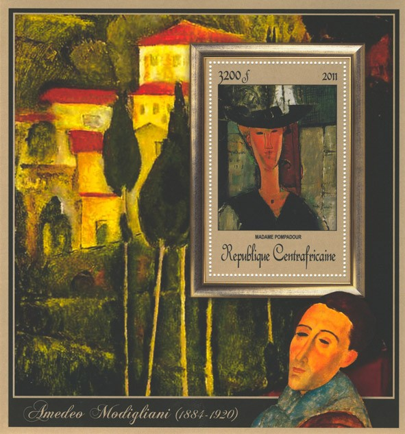 Special Block of Paintings of Amadeo Modigliani,  (Madame Pompadour). - Issue of Central African republic postage stamps