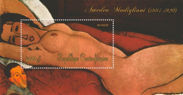 Paintings of Amadeo Modigliani, (1884-1920).(Nu Couche) - Issue of Central African republic postage stamps