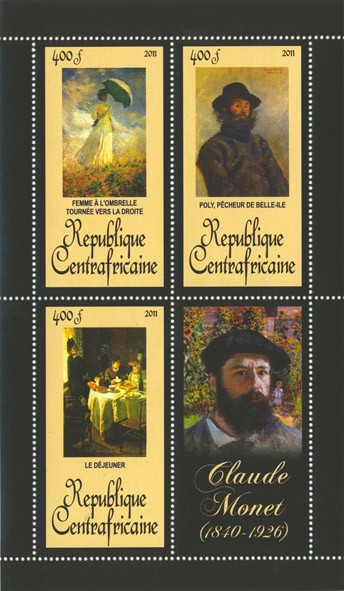 Paintings of Claude Monet, (1840-1926). (Femme A l'Ombrelle, Le dejeurner). - Issue of Central African republic postage stamps