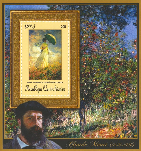 Special Block of Paintings of Claude Monet,  (Femme a  l'ombrelle tournee vers la droite). - Issue of Central African republic postage stamps