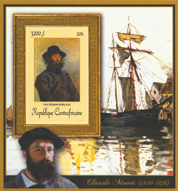 Special Block of Paintings of Claude Monet, (Poly, pecheur de Belle-Ile). - Issue of Central African republic postage stamps