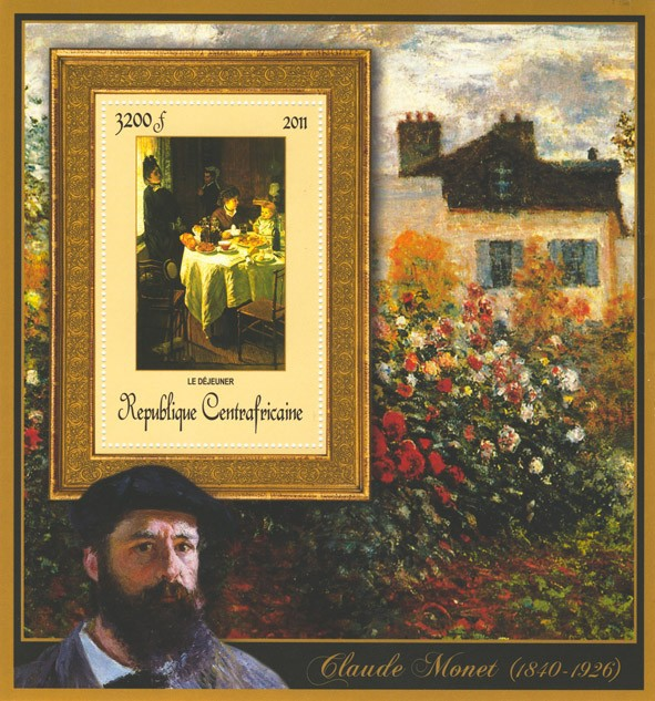 Special Block of Paintings of Claude Monet,  (Le dejeurner). - Issue of Central African republic postage stamps