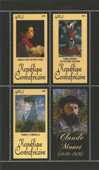 Paintings of  Claude Monet, (1840-1926). (Cammile avec un petit chien, Femme a l'ombrelle). - Issue of Central African republic postage stamps