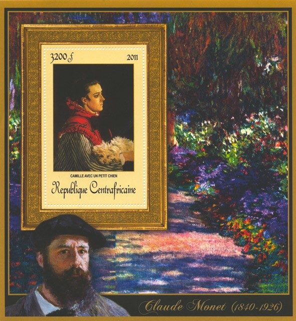 Special Block of Paintings of Claude Monet,  (Cammile avec un petit chien). - Issue of Central African republic postage stamps