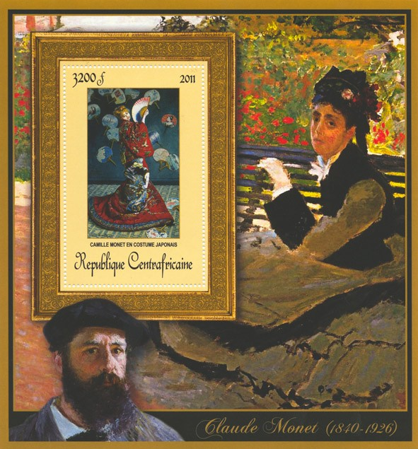 Special Block of Paintings of Claude Monet,  (Camille Monet en costiume japonais). - Issue of Central African republic postage stamps