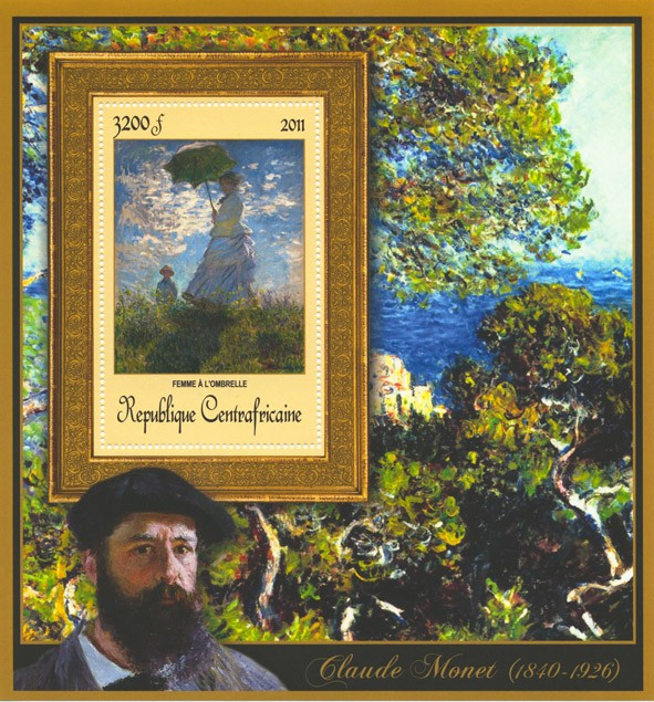 Special Block of Paintings of Claude Monet, (Femme a l'ombrelle). - Issue of Central African republic postage stamps