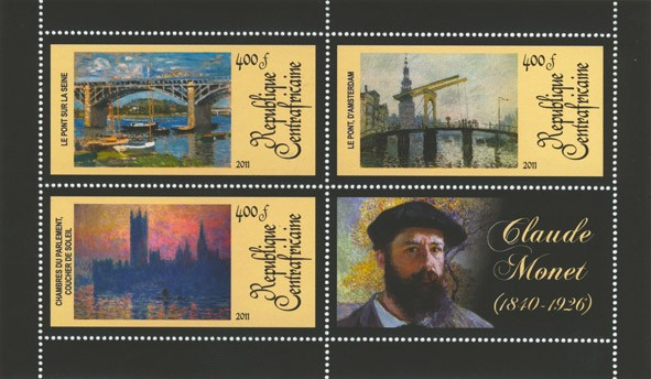 Paintings of  Claude Monet, (1840-1926). (The Bridge over the Seine, Chambres du parlament coucher de solei). - Issue of Central African republic postage stamps