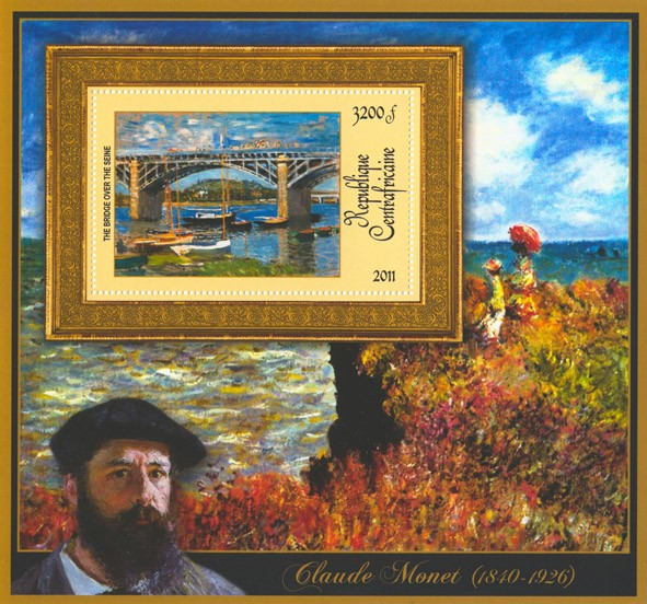 Special Block of Paintings of Claude Monet, (The Bridge over the Seine). - Issue of Central African republic postage stamps