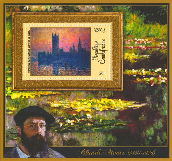 Special Block of Paintings of Claude Monet, (Chambres du parlament coucher de solei). - Issue of Central African republic postage stamps
