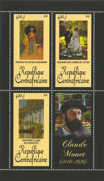 Paintings of  Claude Monet, (1840-1926). (Portrait de Victor Jacquemont, Peuplier le long du fleuve epte). - Issue of Central African republic postage stamps