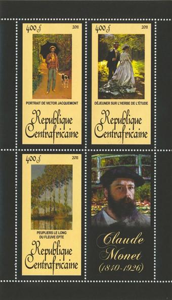 Paintings of  Claude Monet, (1840-1926). (Portrait de Victor Jacquemont, Peuplier le long du fleuve epte). - Issue of Central African republic postage stamps