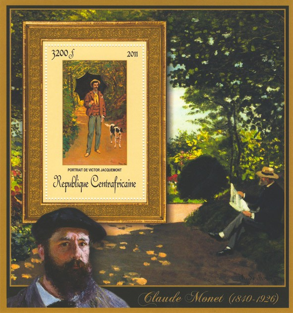 Special Block of Paintings of Claude Monet,  (Portrait de Victor Jacquemont). - Issue of Central African republic postage stamps