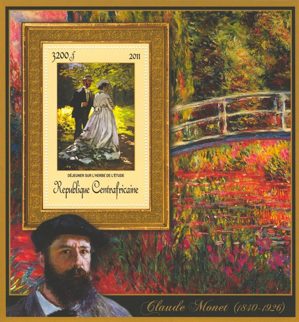 Special Block of Paintings of Claude Monet,  (Dejeurner sur l'herbe de l'etude). - Issue of Central African republic postage stamps