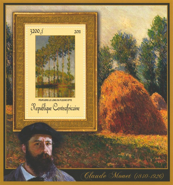 Special Block of Paintings of Claude Monet, (Peuplier le long du fleuve epte). - Issue of Central African republic postage stamps