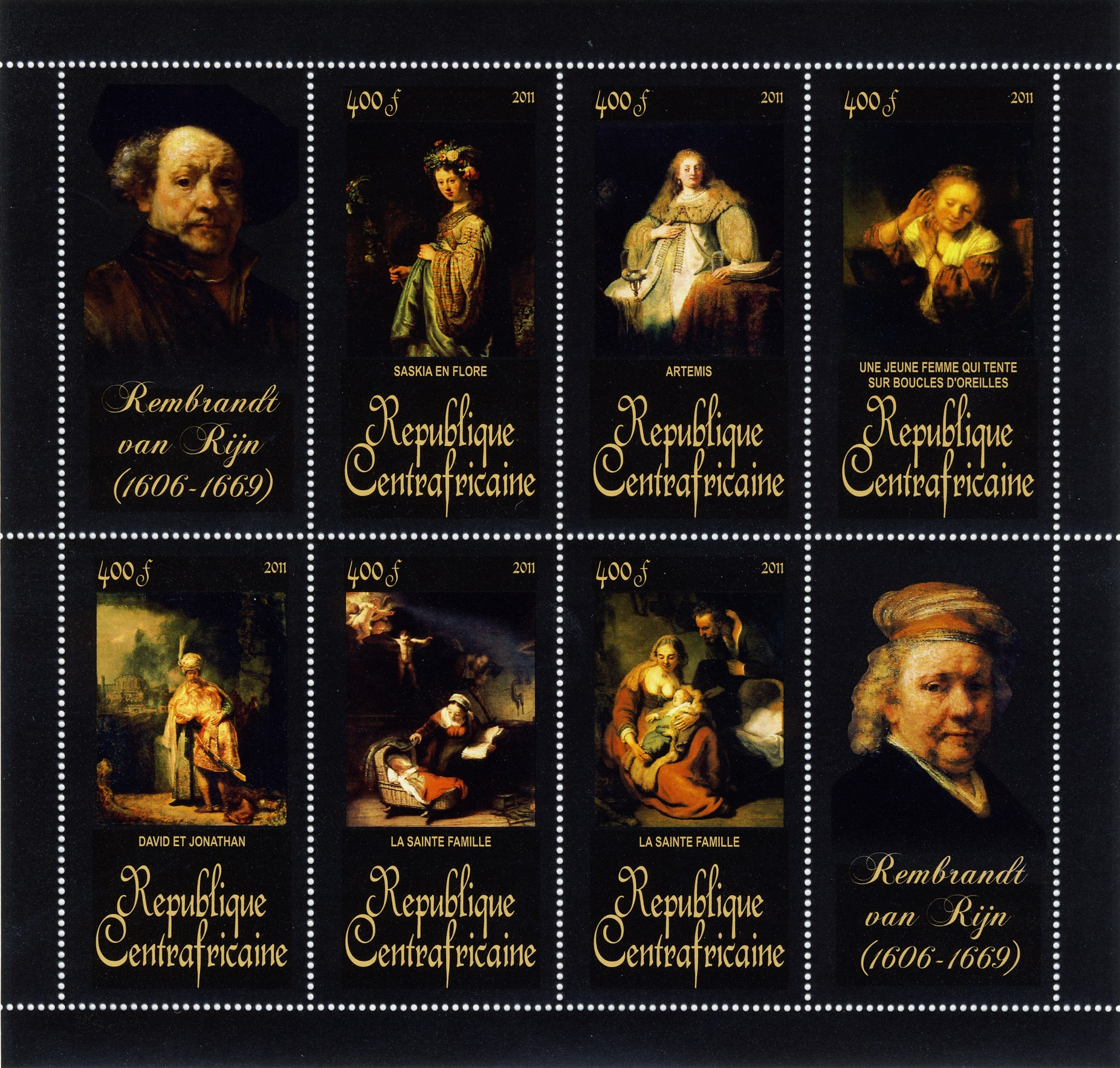 Paintings of Rembrandt van Rijn, (1606-1669). (Saskia en flore, La sainte famille). - Issue of Central African republic postage stamps