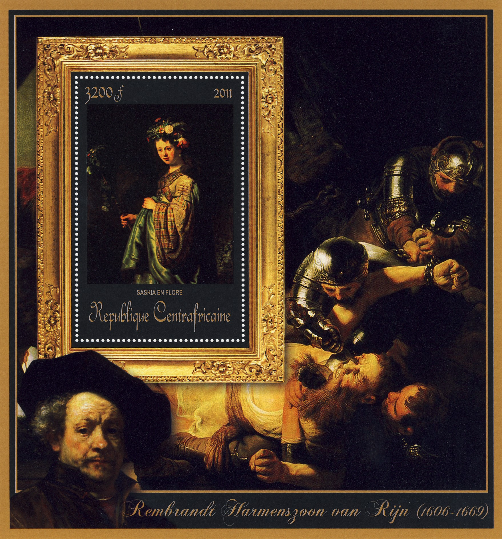 Special Block of Paintings of Rembrandt van Rijn, (Saskia en flore). - Issue of Central African republic postage stamps