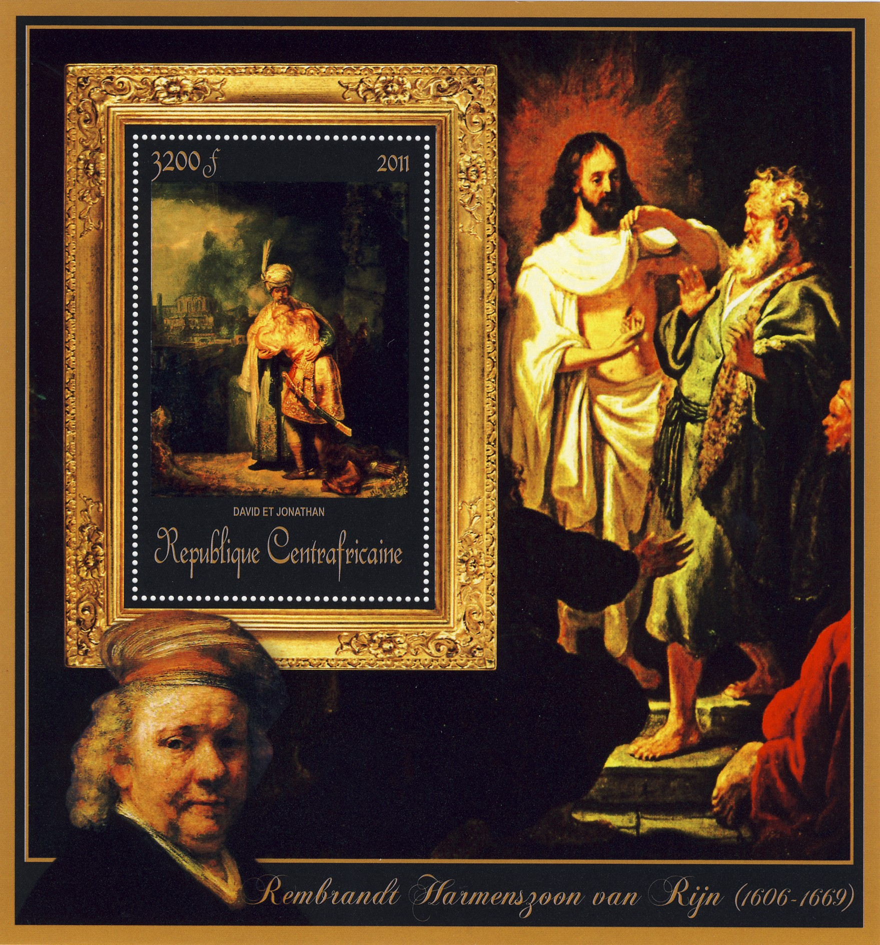 Special Block of Paintings of Rembrandt van Rijn, (David et Jonathan). - Issue of Central African republic postage stamps