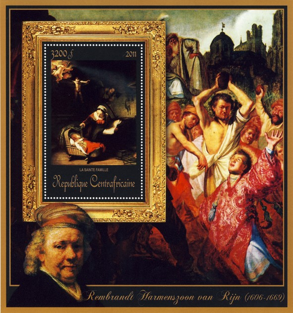 Special Block of Paintings of Rembrandt van Rijn, (La sainte famille). - Issue of Central African republic postage stamps