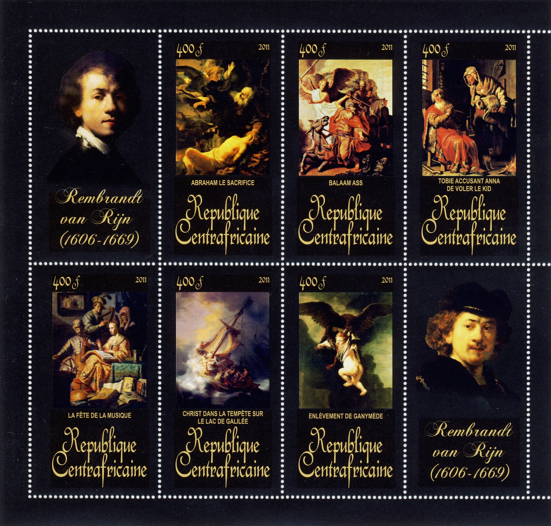 Paintings of Rembrandt van Rijn, (1606-1669). (Abraham le sacrifice, Enlevement de ganymede). - Issue of Central African republic postage stamps