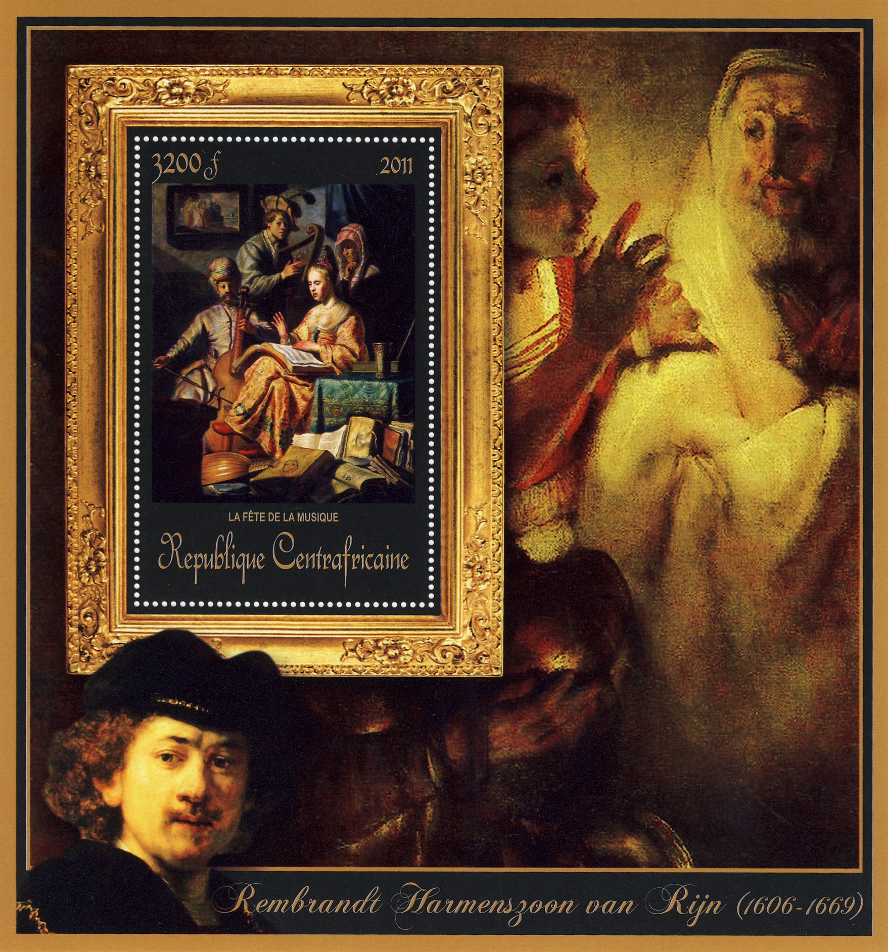 Special Block of Paintings of Rembrandt van Rijn, (La fette de la musique). - Issue of Central African republic postage stamps