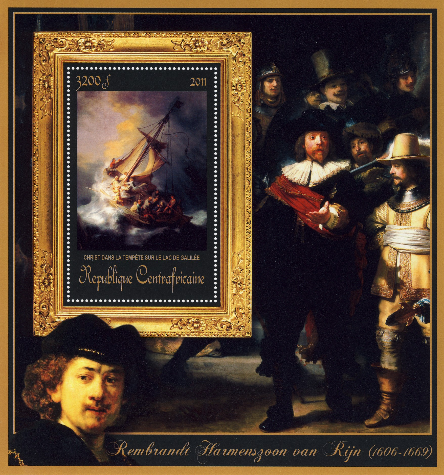 Special Block of Paintings of  Rembrandt van Rijn, (Christ dans la tempete sur le lac de Galilee). - Issue of Central African republic postage stamps