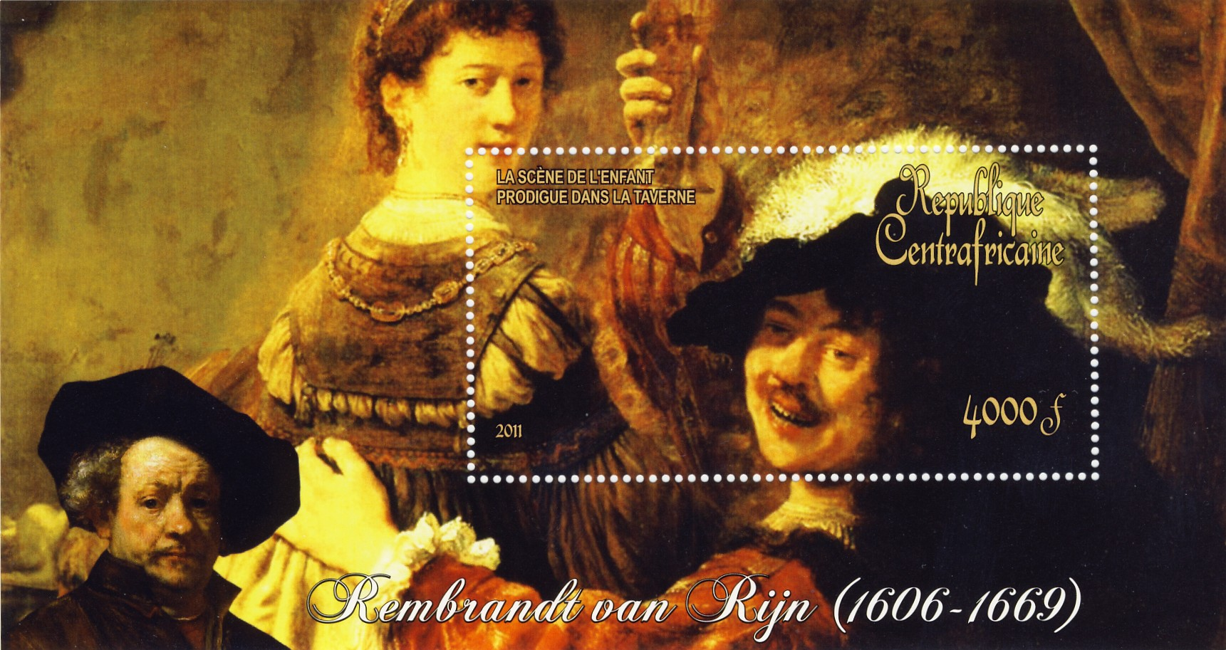 Paintings of  Rembrandt van Rijn, (1606-1669). (La sciene de l'enfant prodique dans la taverne) - Issue of Central African republic postage stamps