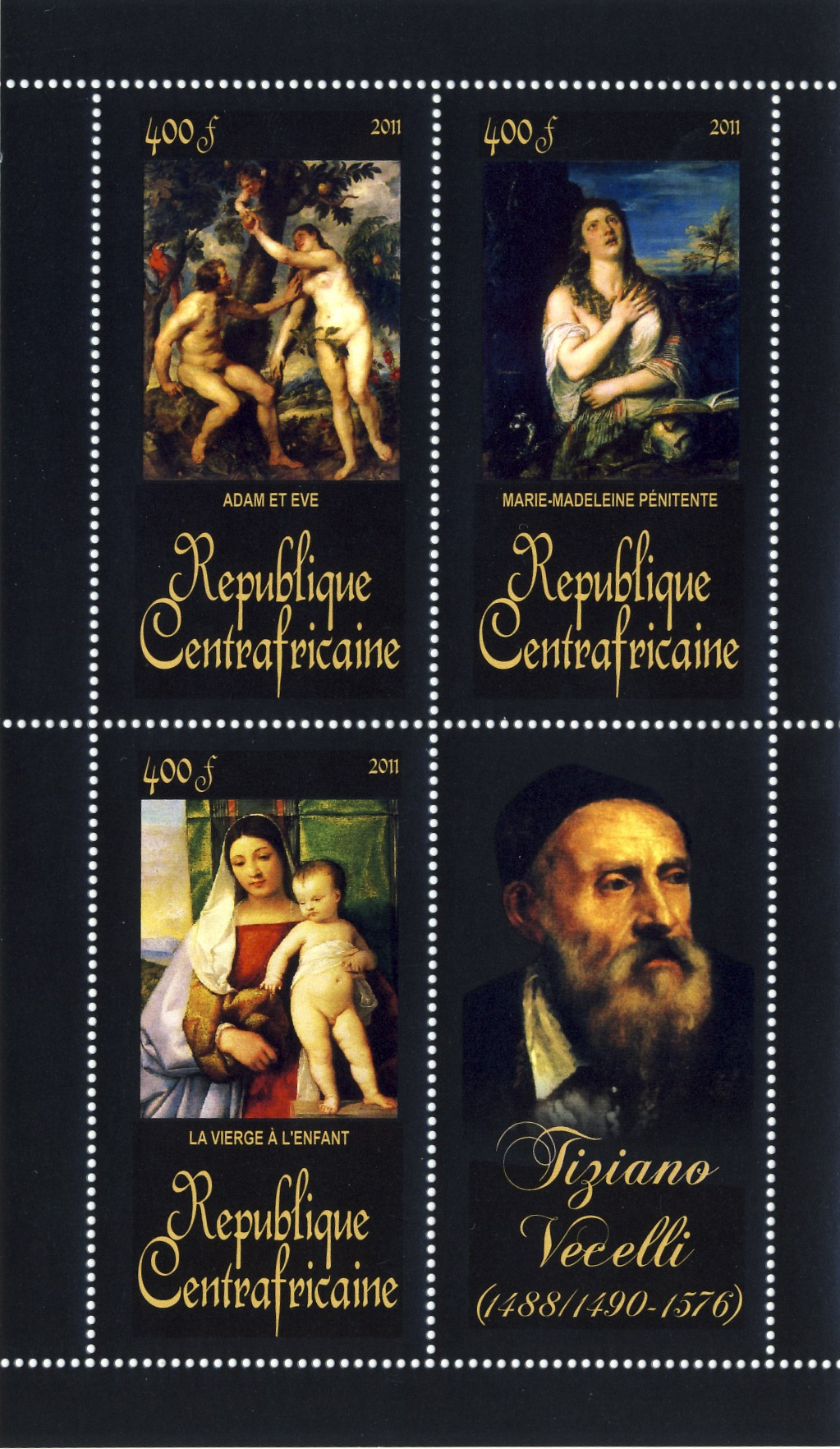 Paintings of Tiziano Vecelli, (1488/1490-1576). (Adam et Eve, La vierge a l'enfant). - Issue of Central African republic postage stamps