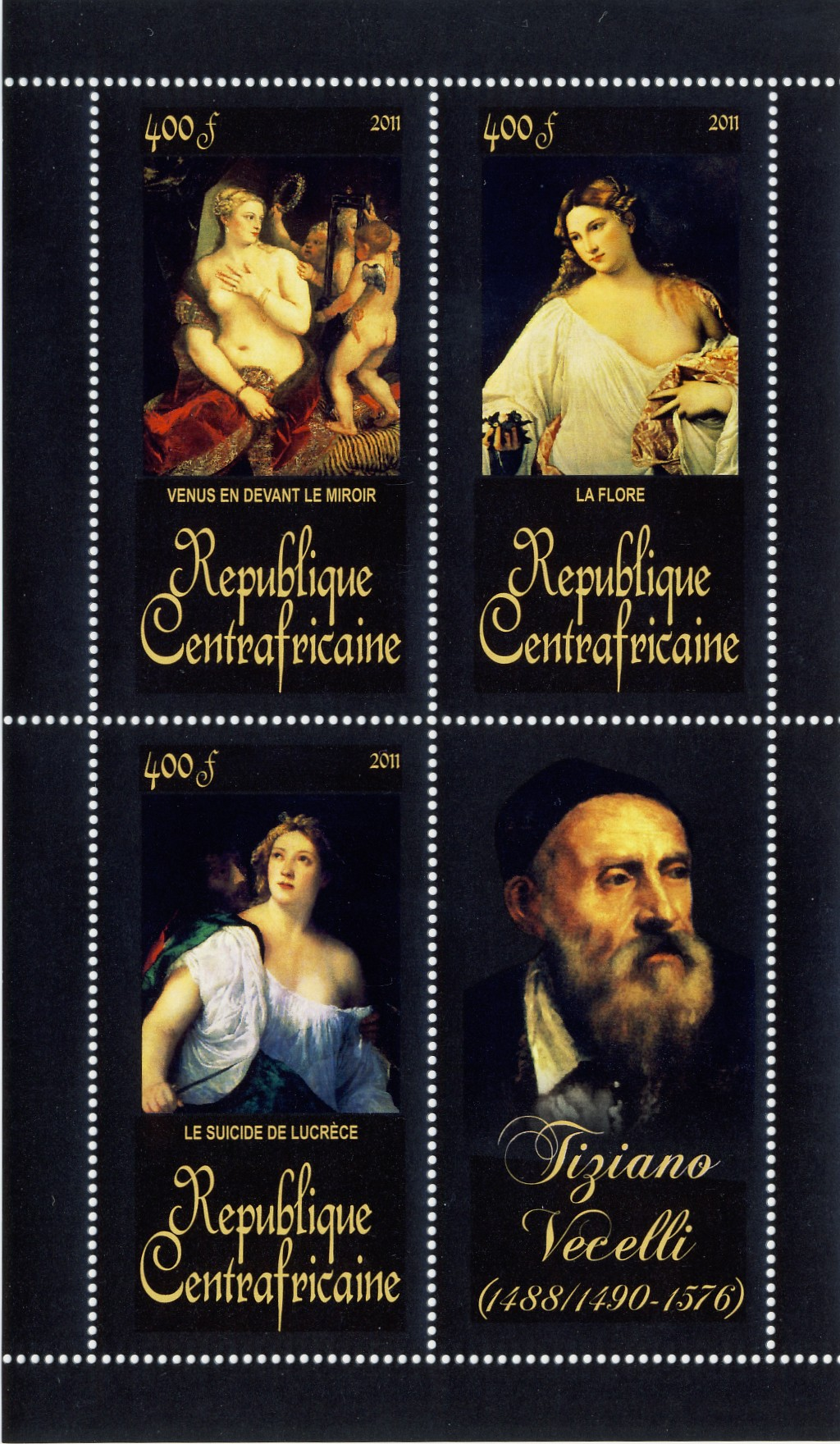 Paintings of  Tiziano Vecelli, (1488/1490-1576). (Venus en devant le miroir, Le suicide de lucrece). - Issue of Central African republic postage stamps