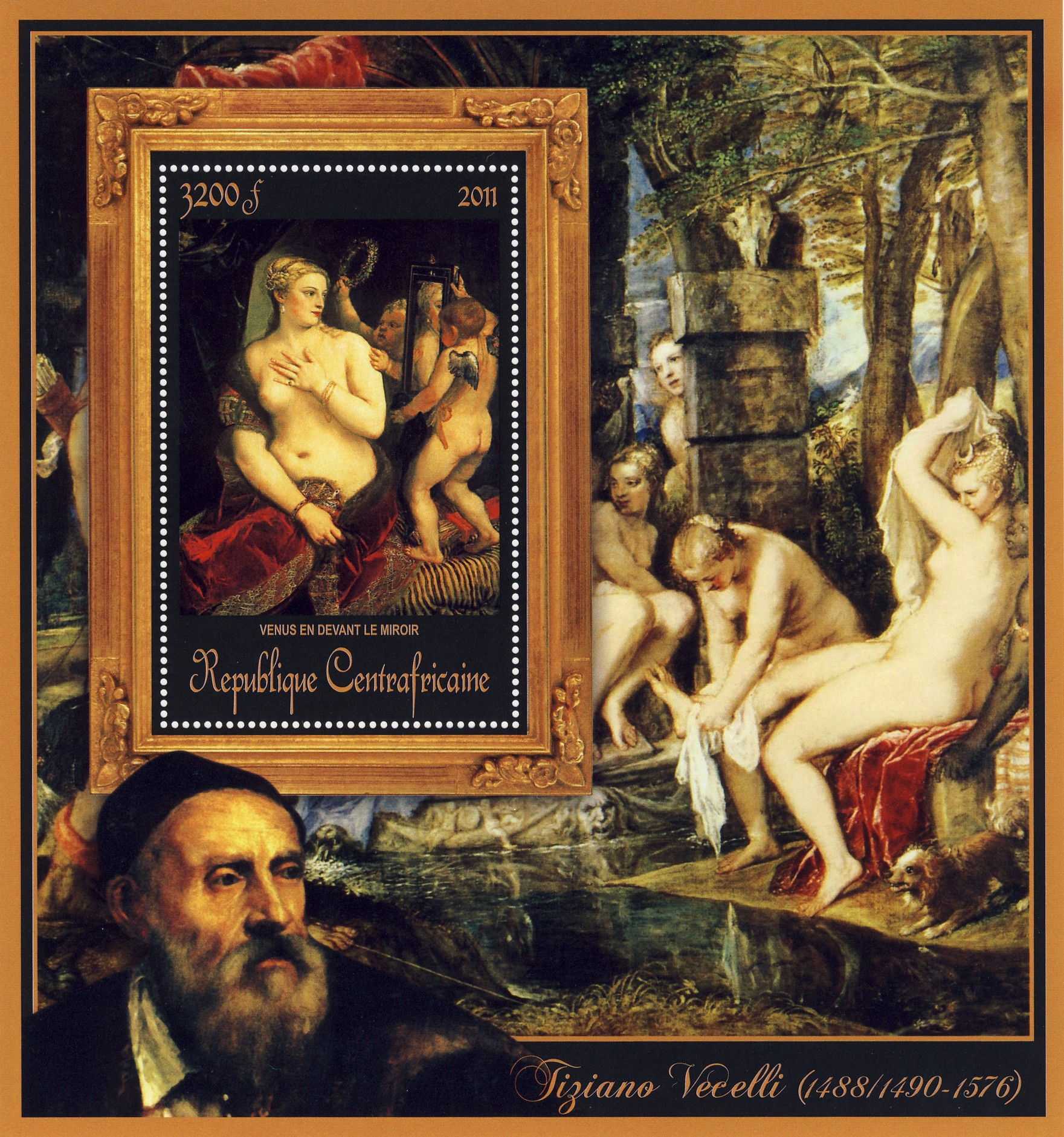 Special Block of Paintings of Tiziano Vecelli,  (Venus en devant le miroir). - Issue of Central African republic postage stamps