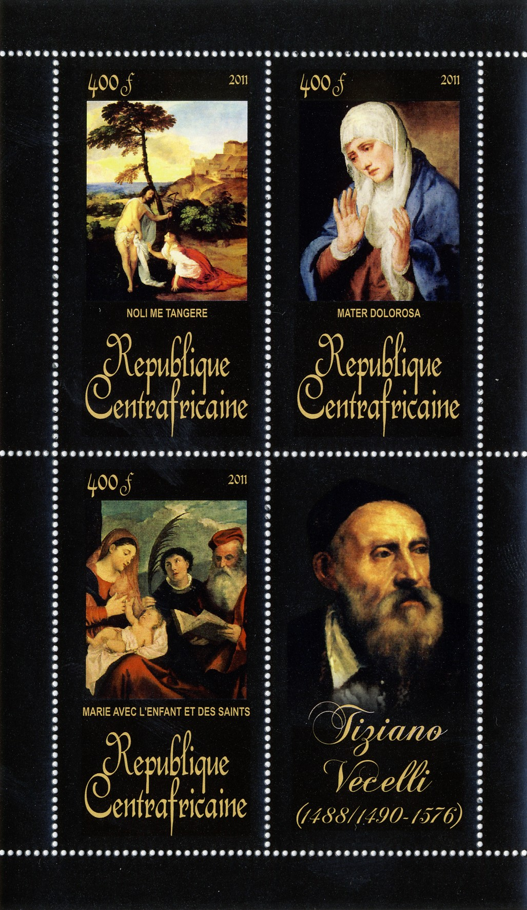 Paintings of  Tiziano Vecelli, (1488/1490-1576). (Noli me tangere, Marie avec l'enfant et des saints). - Issue of Central African republic postage stamps