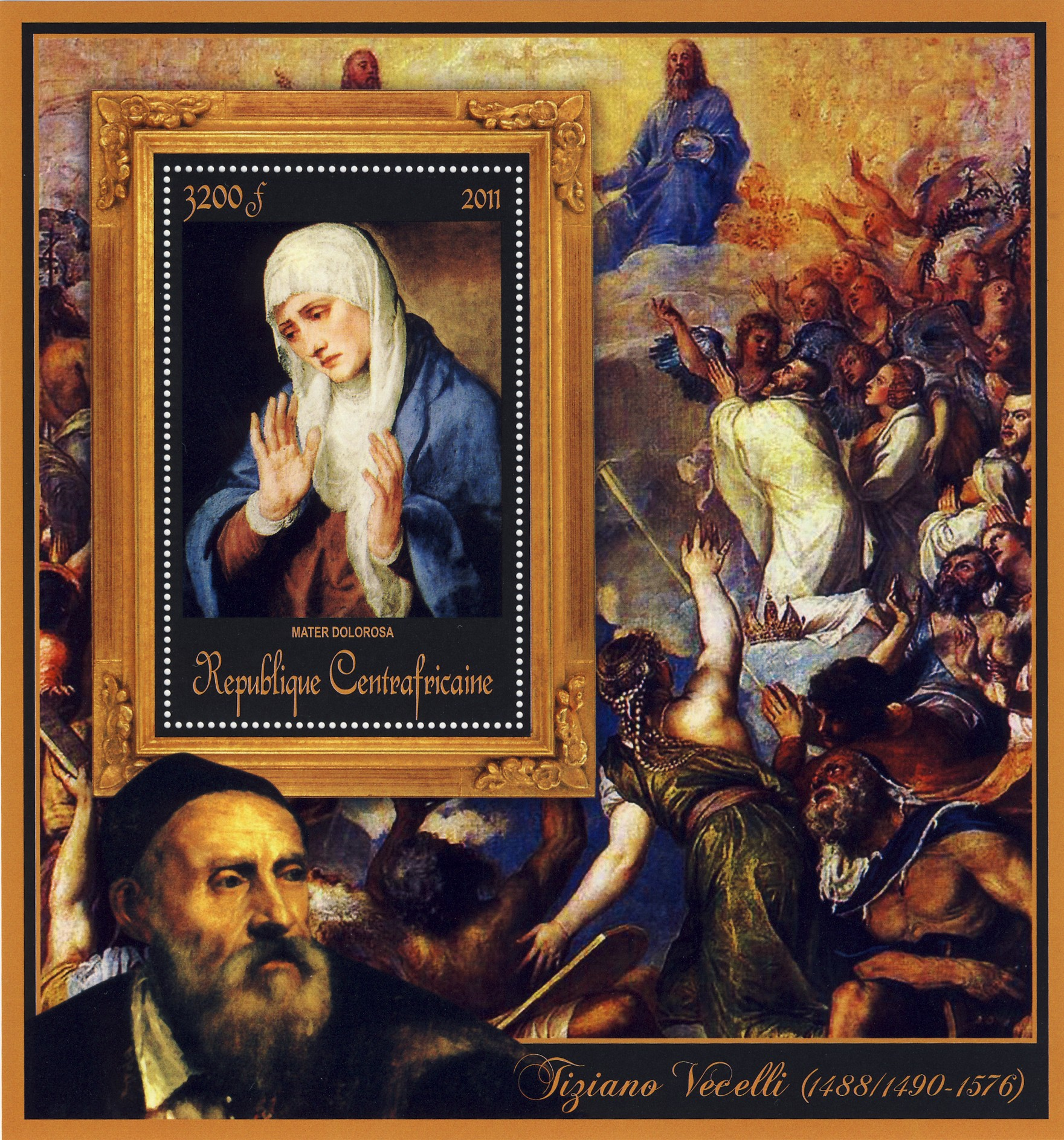 Special Block of Paintings of Tiziano Vecelli,  (Mater Dolorosa). - Issue of Central African republic postage stamps