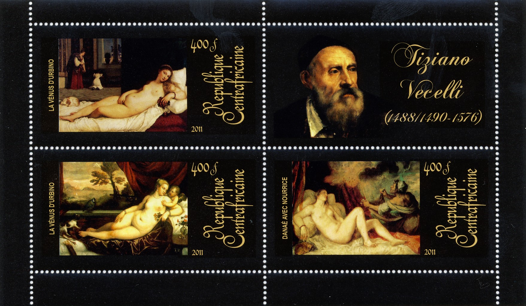 Paintings of  Tiziano Vecelli, (1488/1490-1576). (La venus d'urbino, Danae avec Nourrice). - Issue of Central African republic postage stamps