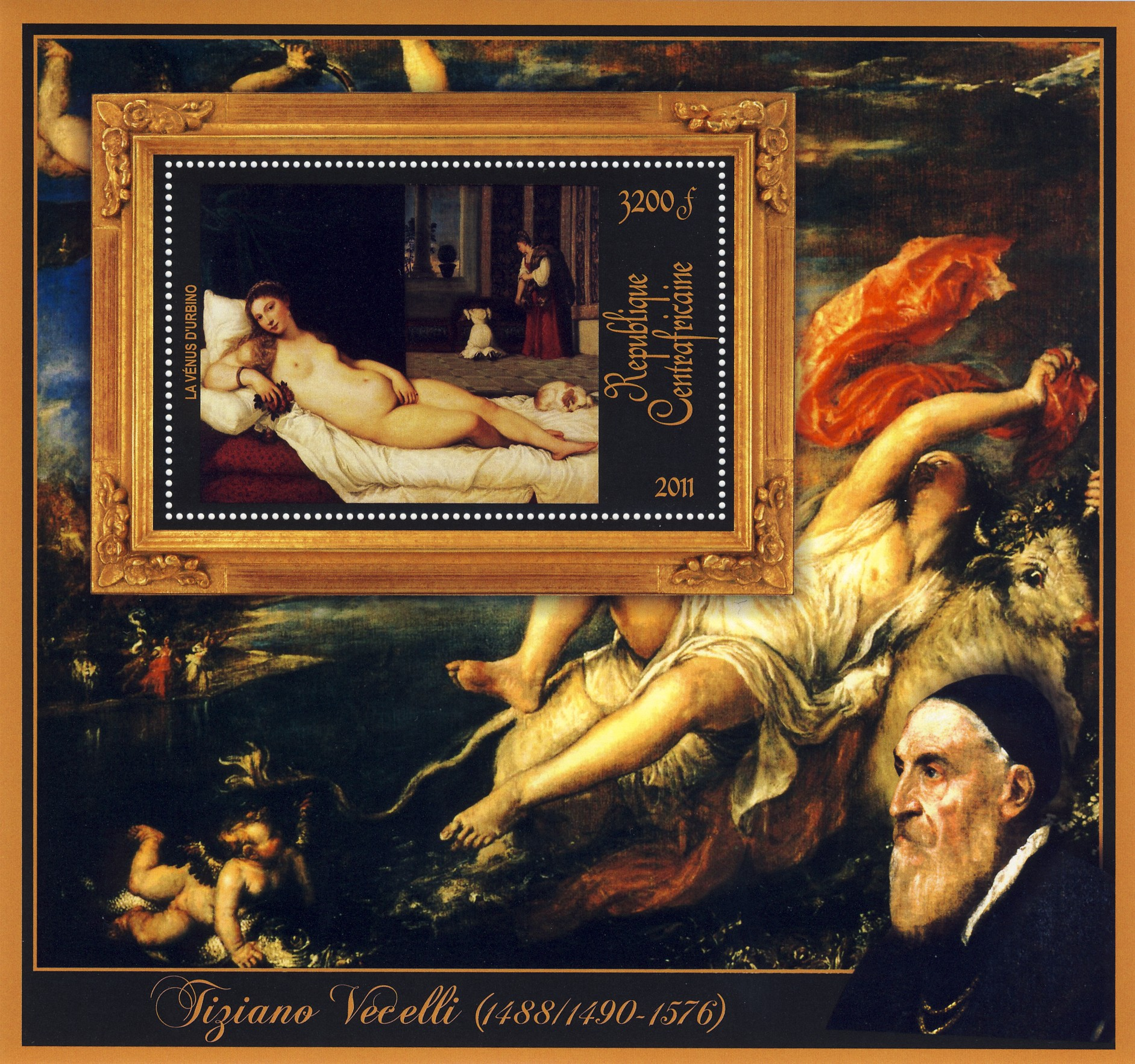 Special Block of Paintings of Tiziano Vecelli, (La venus d'urbino). - Issue of Central African republic postage stamps