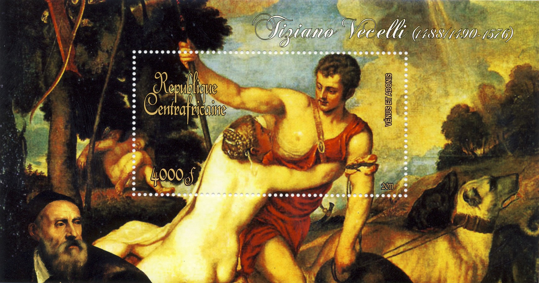 Paintings of Tiziano Vecelli, (1488/1490-1576). (Venus et Adonis) - Issue of Central African republic postage stamps