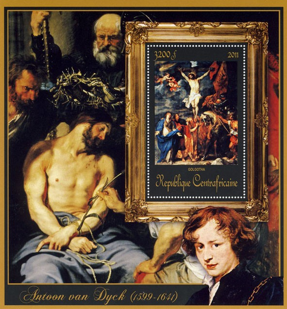 Special Block of Paintings of Antoon van Dyck,  (Golgotha). - Issue of Central African republic postage stamps