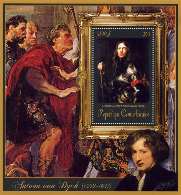 Special Block of Paintings of Antoon van Dyck,  (L'homme en armurer avec foulard rouge). - Issue of Central African republic postage stamps