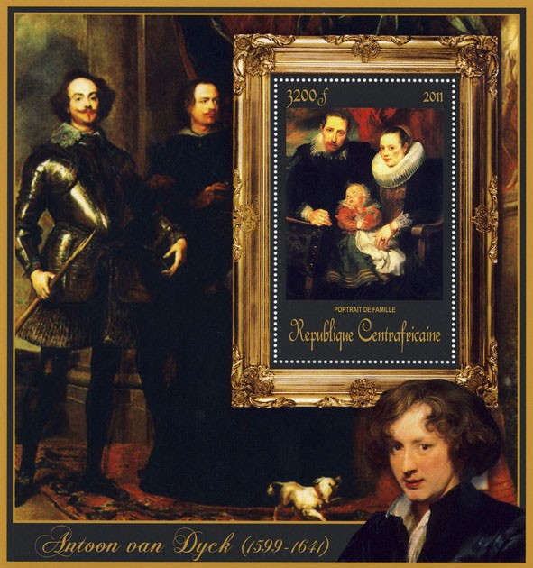 Special Block of Paintings of Antoon van Dyck,  (Portrait de la famille). - Issue of Central African republic postage stamps