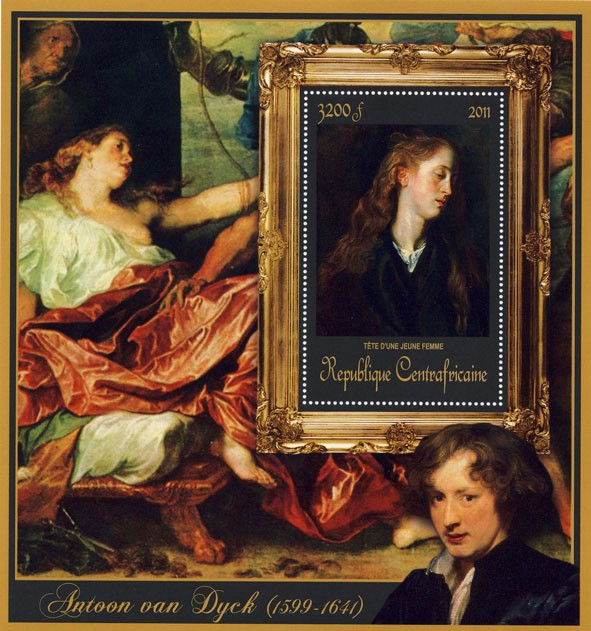 Special Block of Paintings of Antoon van Dyck,   (Tete d.une jeune femme). - Issue of Central African republic postage stamps
