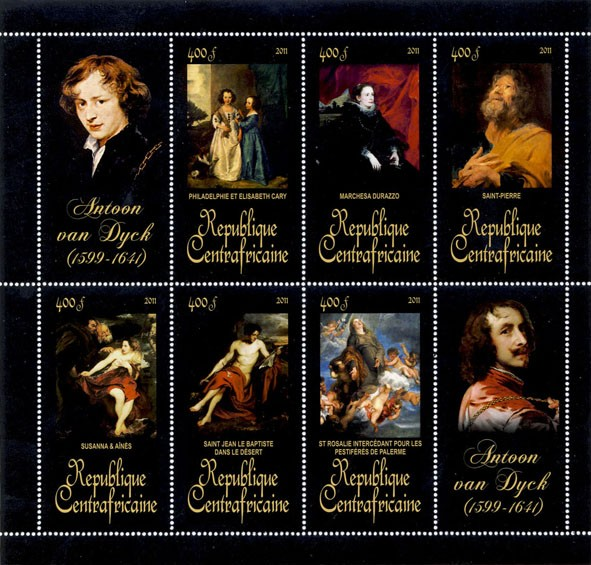 Paintings of Antoon van Dyck, (1599-1641). (Philadelphie et Elizabeth Cary, St Rosalie intercedant pour les Pestiferes de palerme). - Issue of Central African republic postage stamps
