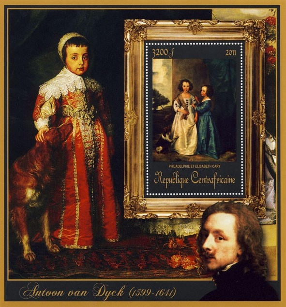 Special Block of Paintings of Antoon van Dyck, (Philadelphie et Elizabeth Cary). - Issue of Central African republic postage stamps