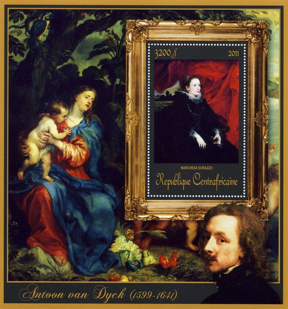 Special Block of Paintings of Antoon van Dyck, (Marchesa Durado). - Issue of Central African republic postage stamps