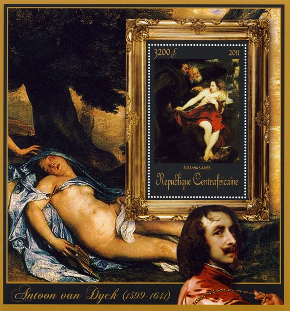 Special Block of Paintings of Antoon van Dyck,  (Susanna & Aines). - Issue of Central African republic postage stamps