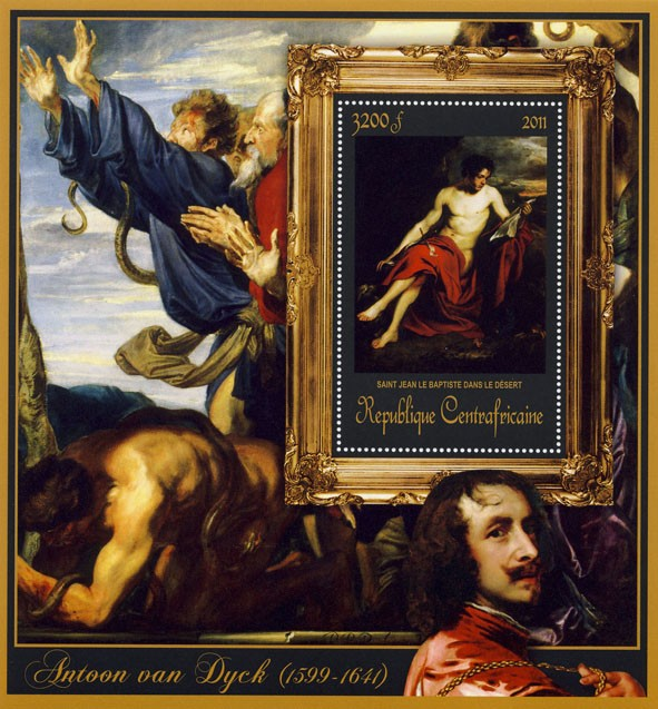 Special Block of Paintings of Antoon van Dyck,  (Saint Jean Le Baptiste dans le Desert). - Issue of Central African republic postage stamps