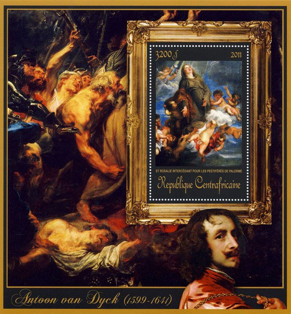 Special Block of Paintings of Antoon van Dyck,  (St Rosalie intercedant pour les Pestiferes de palerme). - Issue of Central African republic postage stamps
