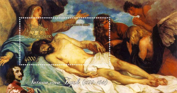 Paintings of Antoon van Dyck, (1599-1641). (Deploration du Christ). - Issue of Central African republic postage stamps