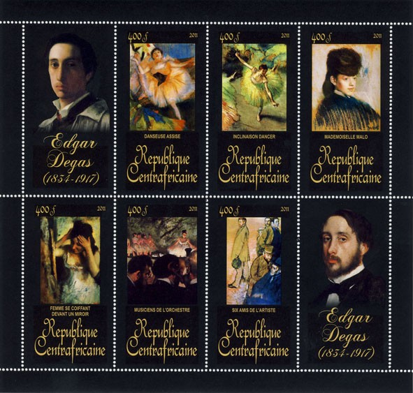 Paintings of Edgar Degas, (1834-1917). (Danseuse Assise, Six amis de l'artiste). - Issue of Central African republic postage stamps