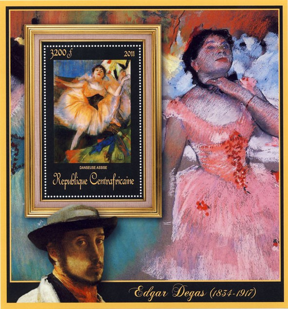 Special Block of Paintings of Edgar Degas, (Danseuse Assise). - Issue of Central African republic postage stamps