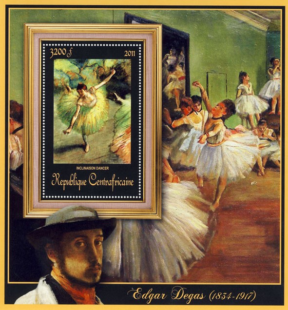 Special Block of Paintings of Edgar Degas,  (Inclinaison dancer). - Issue of Central African republic postage stamps