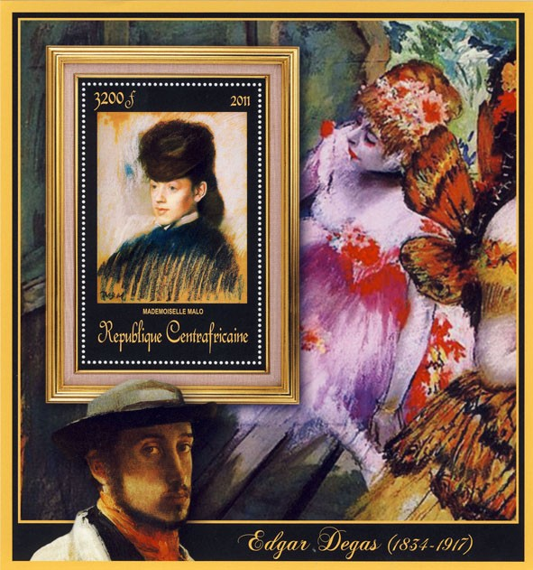 Special Block of Paintings of Edgar Degas, (Mademoiselle Malo). - Issue of Central African republic postage stamps
